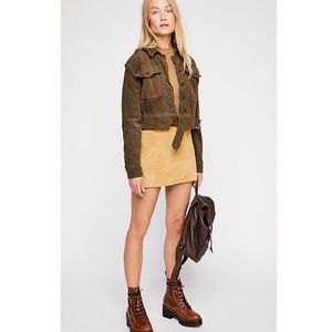 Free People Evelyn Cropped Velvet Military Jacket